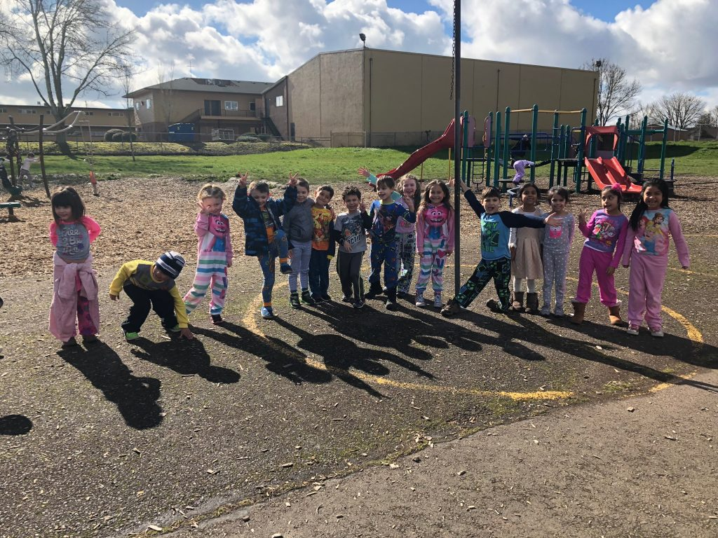 Students in pajamas on pajama day.