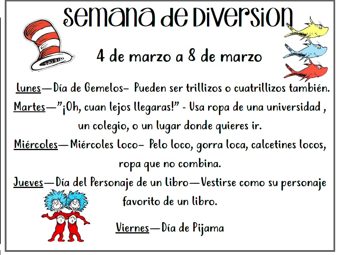 Information in Spanish about spirit week with Dr. Seuss characters