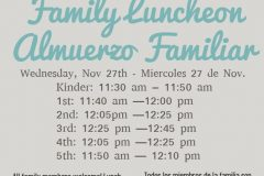 Information about the Family Luncheon